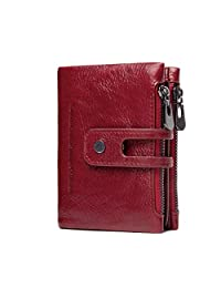 Women's Leather Wallet, Minimalist Vintage Cowhide Leather Wallet With ID Window-Red