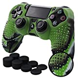 Pandaren STUDDED Anti-slip Silicone Cover Skin Set for PS4 /SLIM /PRO controller(CamouGreen controller skin x 1 + FPS PRO Thumb Grips x 8)