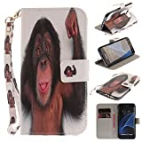 Misteem Case for Samsung Galaxy S7 Edge Animal, Cartoon Anime Comic Leather Case Wallet with Bookstyle Magnetic Closure Card Slot Holder Flip Cover Shockproof Slim Creative Pattern Shell Protective Cover for Samsung Galaxy S7 Edge [Monkey]