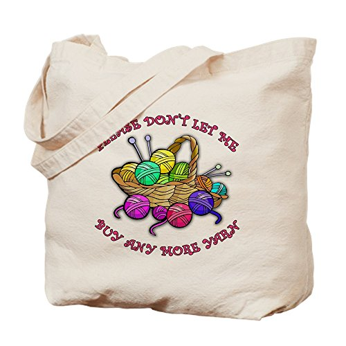 CafePress - Too Much Yarn! Knitting - Natural Canvas Tote Bag, Cloth Shopping Bag