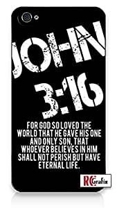 fashion case Bible Verse Religious Quote John 3-16 Distressed Look - Hip & Cool Direct-To-Case Printed iphone 5c, 5c Quality TPU SOFT RUBBER Snap On Case for iphone 5c - AT&T Sprint Verizon - White Case