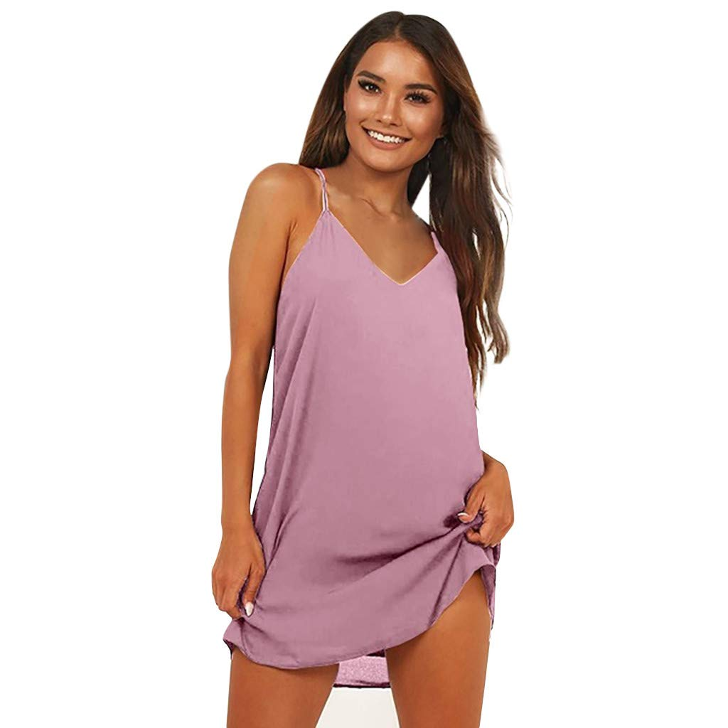 Women Dress Sleeveless V Neck Summer Solid Color Casual Beach T-Shirt Mini Short Dresses (S, Pink)