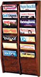 Wooden Mallet MR36-14 14 Pocket Wall Mounted Oak Magazine Rack in Medium Oak