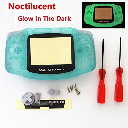 New Replacement Full Housing Shell Cover Case Pack Backlight Backlit for Nintendo Gameboy Advance GBA Repair Part-Luminous Green Edition