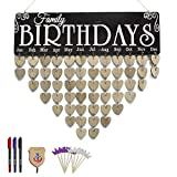 ElekFX Birthday Board Reminder Wall Plaque Wood Birthday Calendar Wall Hanging Board Handmade Crafts Discs One by One with Adhesive Hook and Pen