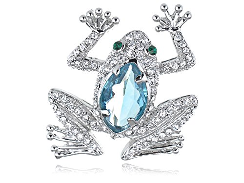 Alilang Cat Eye Aquamarine Crystal Rhinestone Frog Animal Jewelry Pin - Dazzle Frogs
