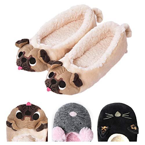 Women's Plush Winter Warm Animal Soft Cute Home Slippers Dog Yellow 9 M -