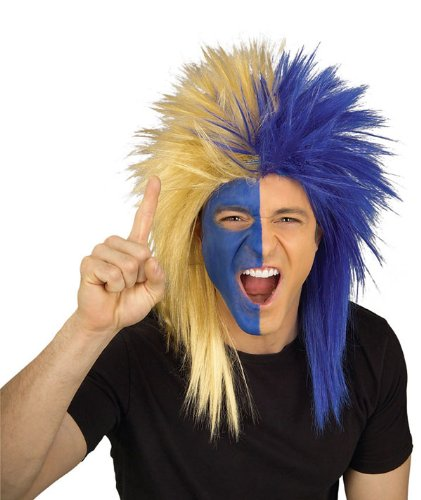 [Rubie's Costume Blue and Gold Sports Fan Wig, Blue/Gold, One Size] (Fan Costumes)