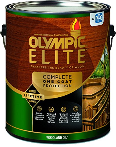 Olympic Stain 80110-1 Elite Woodland Oil Stain, 1 Gallon, - Semi Deck Solid