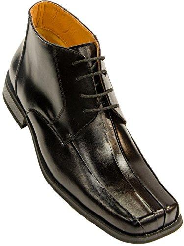 Zota Men's Leather Lace-Up Square Toe Boot, Black, 12 M