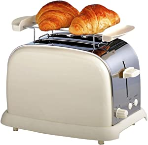 Toaster 2 Slice Compact Brushed Stainless Steel Toasters with Warmer Rack, Warm Touch 2-Slice Defrost Reheat Cancel Button,