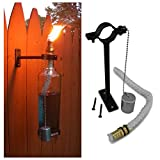 Amber Wine Bottle Tiki Torches - outdoor-lighting