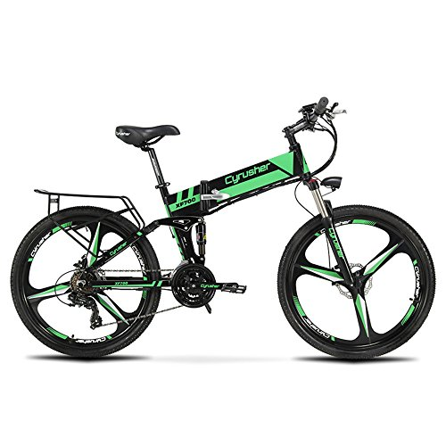 Cyrusher XF700 Folding Electric Bike 26 Inch Fat Tire Electric Bike Full Suspension Mountain Bike 36V 10.4AH Hidden Battery Shimano 21 Speeds Double Mechanical Disc Brake