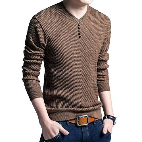 Longues Printemps Fit Pullover En Top Homme Haut Loisir Vintage Tricot De Pulls Dihope Manches Automne Casual Cou Slim V Café 0fqTnT