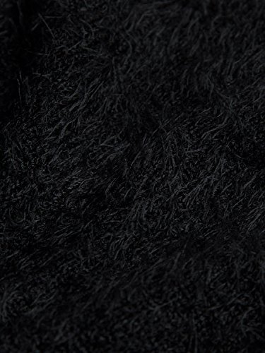 Joeoy Women's Black Fluffy Mohair Long Sleeve Crop Top Knit Sweater Jumper-M