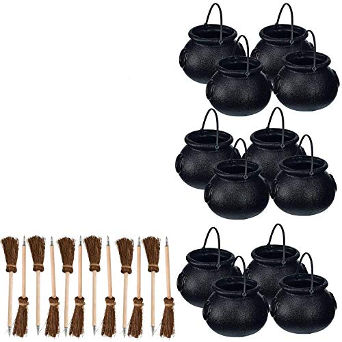 Fun Express 12 mini cauldrons + 12 broom pens Harry Potter party or Halloween Party -