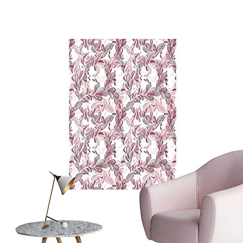 Floral Canvas Print Wall Art Romantic Nature Scroll Style Pattern with Hand Drawn Leaves and Petals Stair Elevator Side Maroon Coral and White W32 x H48
