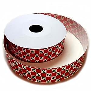 "Christmas Gift Wrap Ribbon - 1 1/4"" x 50 Yards, Holly Mistletoe"