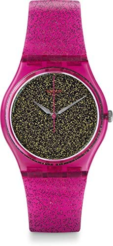 Swatch Women s 34mm Pink Plastic Band Case Quartz Gold-Tone Dial Analog Watch GP149