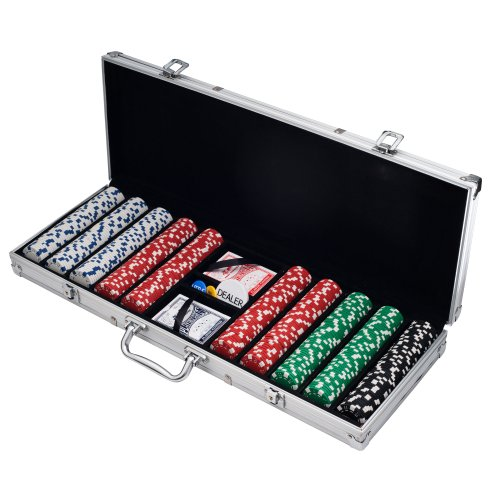Trademark Poker 10-1090-500SQL Poker Chip Set for Texas Holdem, Blackjack, Gambling with Carrying Case, Cards, Buttons and 500 Dice Style Casino Chips (11.5 gram) - Supplies Party Warehouse