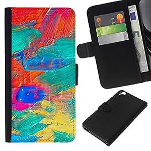 WINCASE Cuadro Funda Voltear Cuero Ranura Tarjetas TPU Carcasas Protectora Cover Case Para HTC Desire 820 - pintura de aceite galaxia colores vibrantes