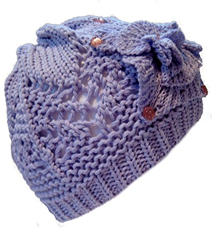 Frost Hats Spring Fall Hat for Girls LIGHT VIOLET Beautiful Crochet Hat Beanie Big Flower Beanie Light and Airy Hat Frost Hats One Size Light Violet