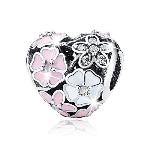 BAMOER 925 Sterling Silver Poetic Daisy Flower Heart Enameled CZ Solid Charms Beads for DIY Bracelet (Flower Girl Heart Charm)
