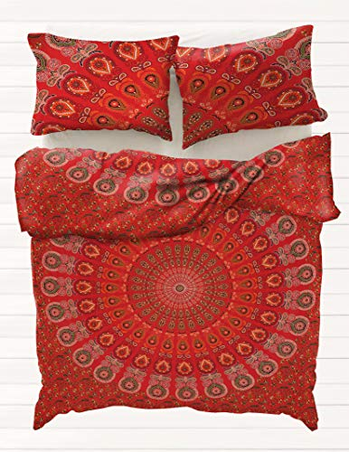 Rajasthani Handmade Indian Mandala Red Peacock Queen Size Duvet Cover Hippie Bedding Cover Boho Quilt Cover Bohemian 100% Cotton Comforter Sets (Rh Duvet Cover)