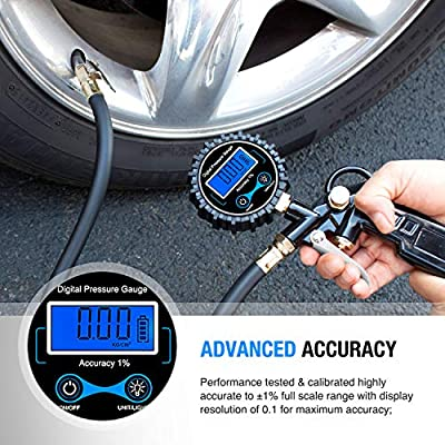 Nilight 50026R Digital Tire Inflator Pressure Gauge,250 PSI Air Chuck and Compressor Accessories Heavy Duty with Rubber Hose and Quick Connect Coupler for 0.1 Display Resolution,2 Year Warranty: Automotive