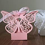 PONATIA 50pcs Laser Cut Butterfly Wedding Favour Box Birthday Party Gifts Candy Boxes (Pink)