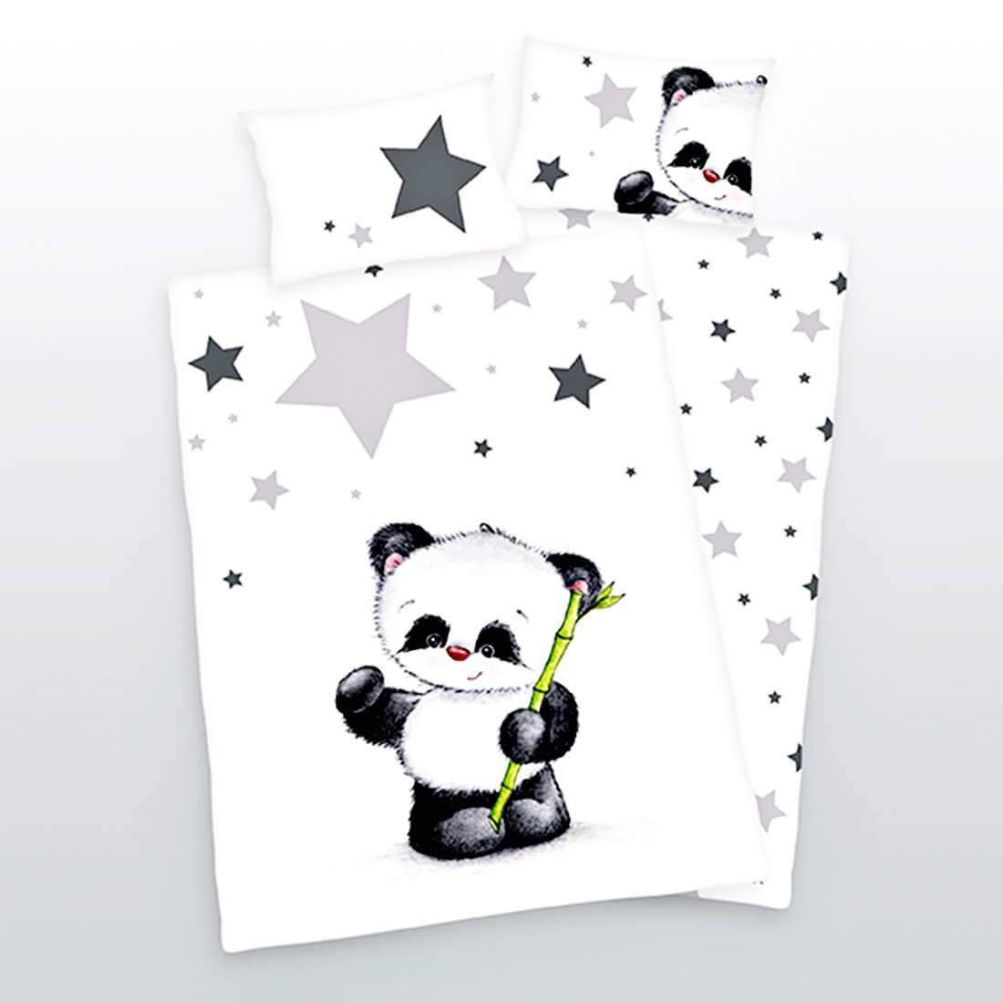 Fodera Cuscino: 40 cm x 60 cm; Renforc/é Rainbowfun.de Baby Best 100/% Cotone Grigio Nero ; Lenzuola: 100 cm x 135 cm Panda Lenzuola di Herding; Bianco