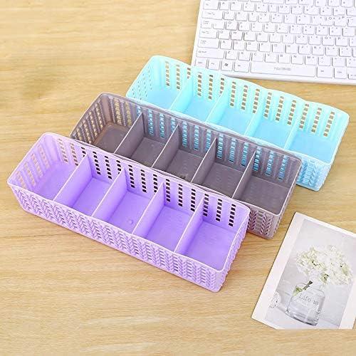 Fssh-MLX 5ケースプラスチック受信ボックスは、ボックスタイブラジャー靴下の引き出し化粧品ディバイダ化粧引き出しプラスチック受信箱を受け取る受信します (色 : ピンク)