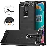 Oneplus 6 Case, Dretal Carbon Fiber Shock Resistant Brushed Texture Soft TPU Phone case Anti-fingerprint Flexible Full-body Protective Cover For Oneplus 6 (6.3