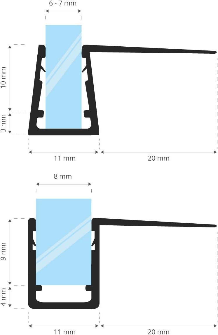 STEIGNER Junta de Ducha, Junta de Sellado, 40 cm, Espesor del Vidrio 6/7/8 mm, Junta Recta PVC, UK11: Amazon.es: Bricolaje y herramientas