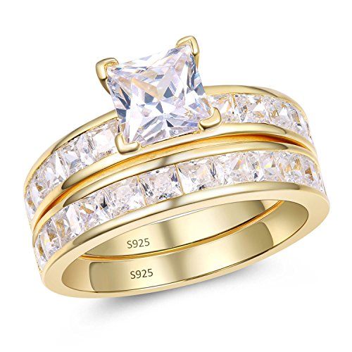 Mabella Gold Plated Sterling Silver Princess Cut CZ 3.45 CTW Engagement Ring Wedding Band Set For Women