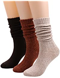 3 Pack Womens Casual Cable Knit Slouch Warm Winter Crew Socks A105