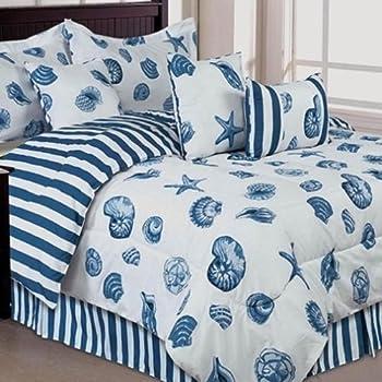 Seashells, Beach Themed, Nautical King Comforter Set U0026 Toss Pillows (7  Piece Bed