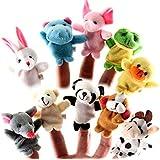 homiki Lot de 10 Peluches Assortiment marionnettes jeux de doigts animaux marionnettes Peluches doudoune,histoire de la famille Enfants Jeux bébé