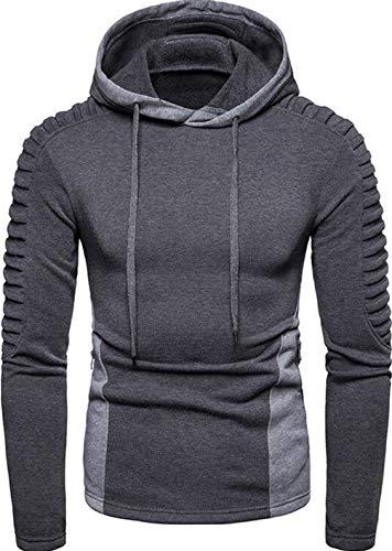 TUSFTAY Men's Long Sleeve Pleated Hoodie Drawstring Hooded Sweatshirt with Zipper Pockets (M, Grey)