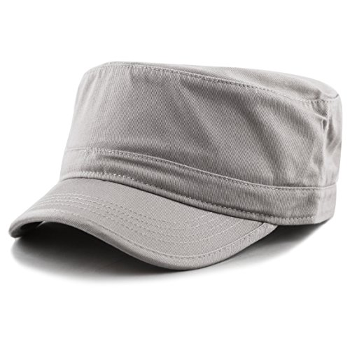 THE HAT DEPOT Cadet Army Washed Cotton Basic Cap Military Style Hat (Grey)