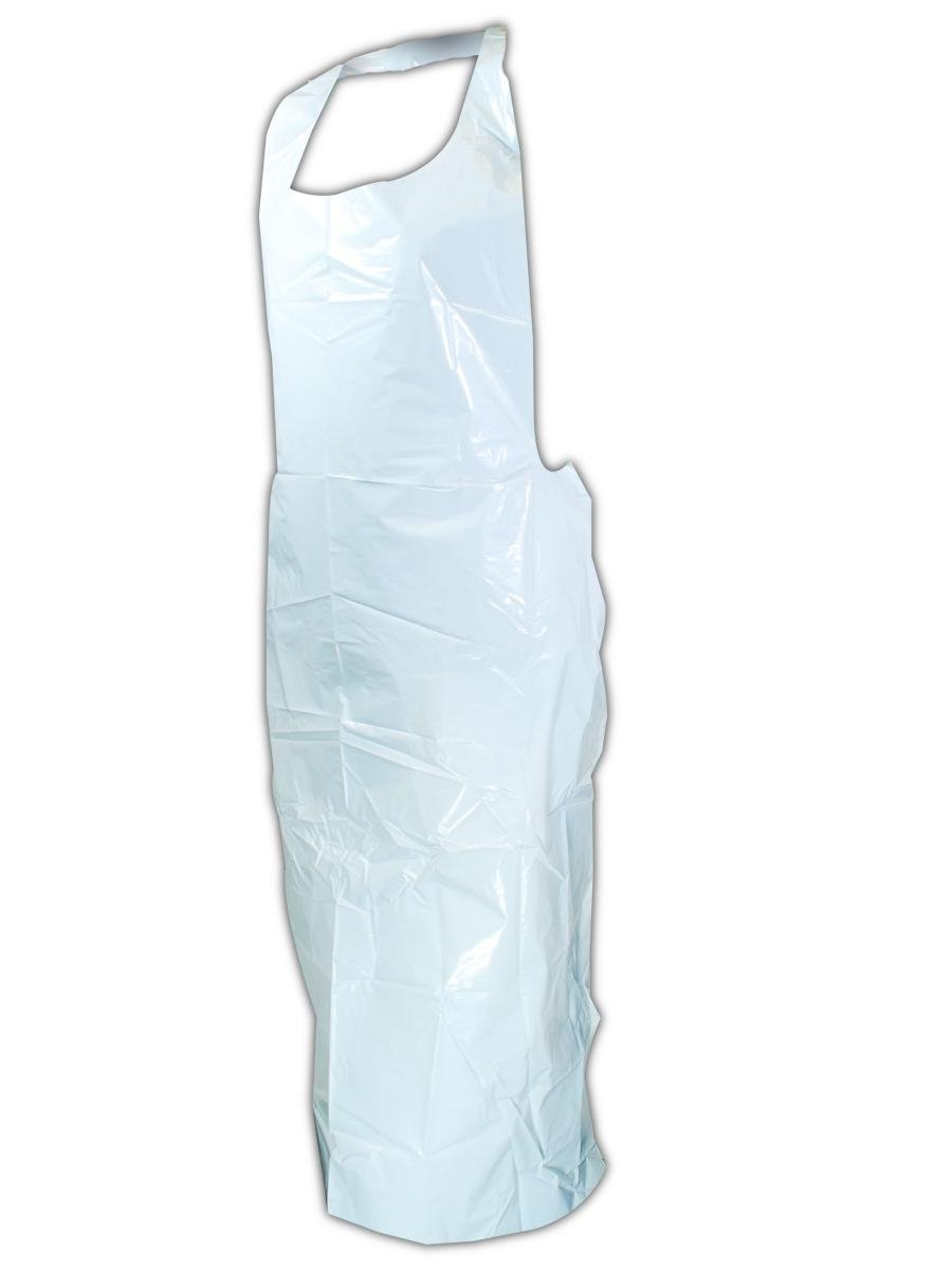 "Magid Safety EconoWear 120W USDA Accepted Disposable Aprons | 2-Mil Thick Seamless Polyethylene Disposable Aprons with Tie Closure - For Food Handling, 32"" x 55"", White (500 Aprons)"