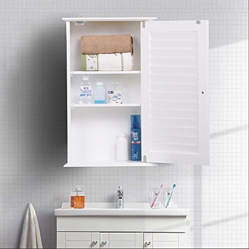 go2buy White Wood Bathroom Wall Mount Cabinet Toilet Medicine Storage Organizer Single Door with Adjustable Shelves by go2buy