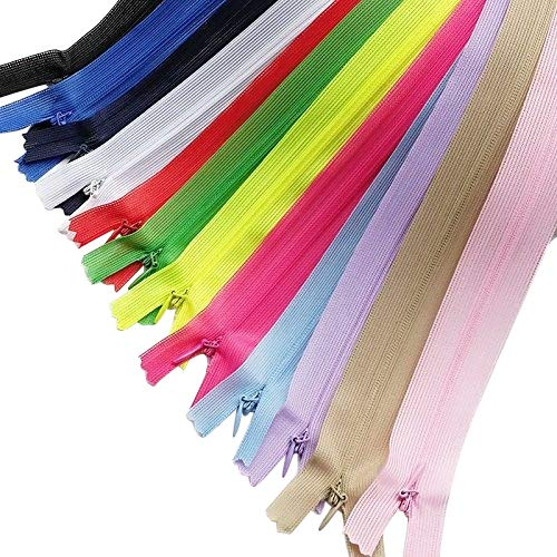 (Chenkou Craft 12pcs Silk Invisible Zipper Lace Tape Closed Clothes Dress Sewing Craft 22 Inch(Full Lnegth is 23.6 Inch) Assorted Color Zippers)