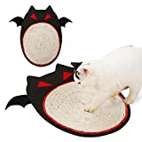 Aolvo Cat Scratching Pad Sisal Cat Scratching Post Cat Scratcher Cardboard - Cat Litter Activity Mat for Play Nap Grinding Claws Halloween Bat Design-Satisfy your kitty's Natural Scratching Instinct