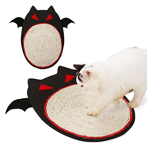 Ramp Kitty Scratching (Aolvo Cat Scratching Pad Sisal Cat Scratching Post Cat Scratcher Cardboard - Cat Litter Activity Mat for Play Nap Grinding Claws Halloween Bat Design-Satisfy your kitty's Natural Scratching Instinct)