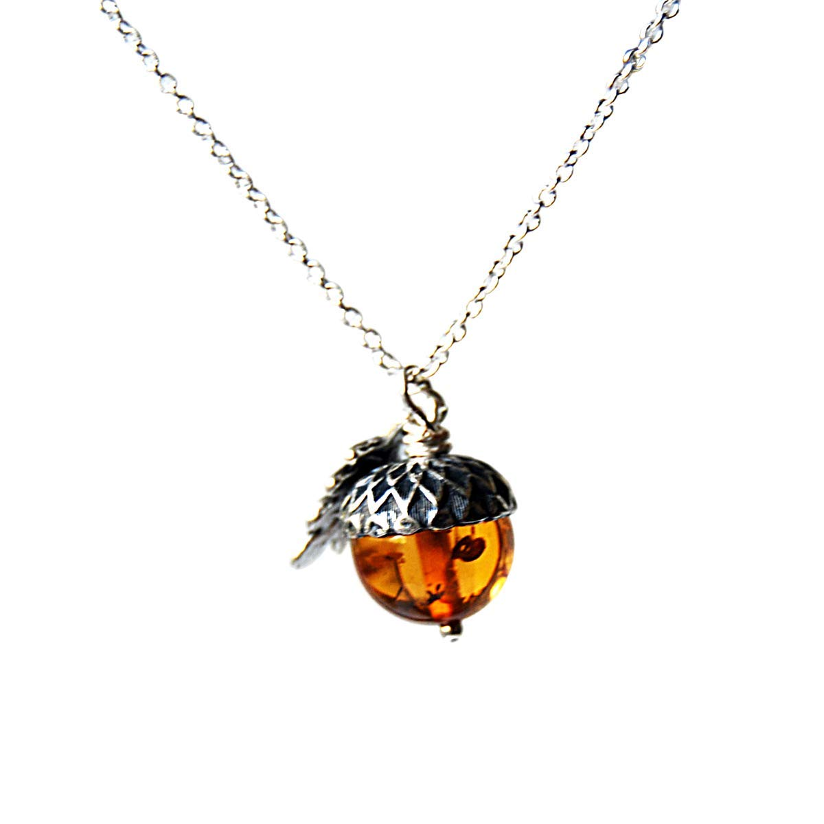 Enchanted Leaves - Amber and Silver Acorn Necklace - Man Made Amber - Cute Nature Charm Necklace