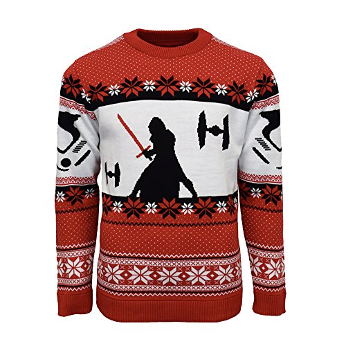 Official Star Wars Kylo Ren Christmas Jumper/Ugly Sweater - UK XL/US L Red]()