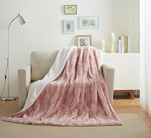 - Tache 90x90 Faux Fur Dusty Rose Pink Soft Throw Blanket