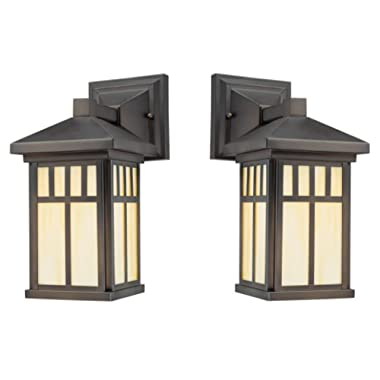 One-Light Exterior Wall Lantern on Steel with Honey Art Glass, Oil Rubbed Bronze Finish