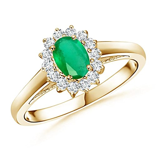 Holiday Offer - May Birthstone - Princess Diana Inspired Emerald Ring for Women with Diamond Halo in 14K Yellow Gold (6x4mm Emerald) by Angara.com